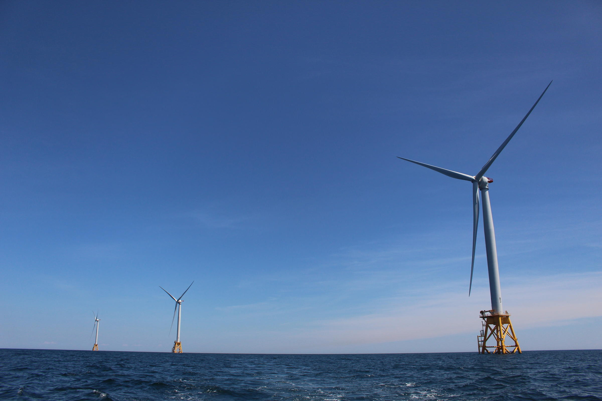Three of five turbines that make up the Block Island Wind Farm, in waters three miles off the coast of Block Island. (Ambar Espinoza/RIPR)