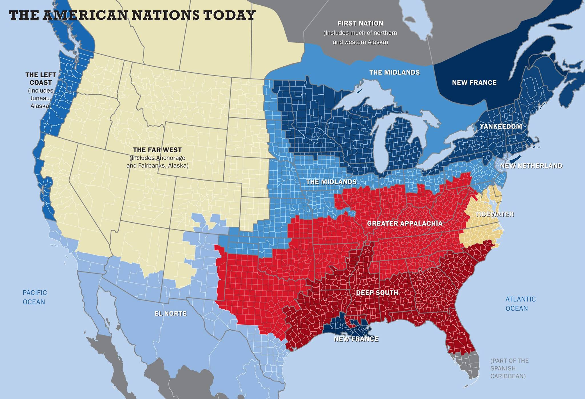 American Nations map by Colin Woodard, design by Tufts Magazie