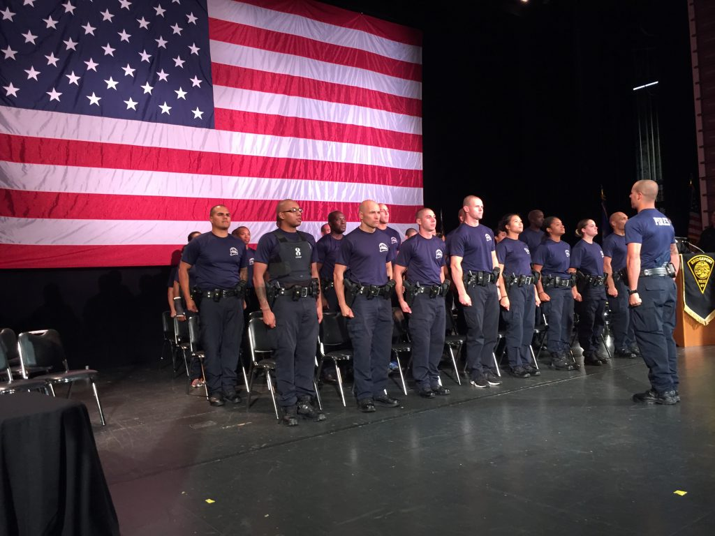 Cadets from the Bridgeport, Connecticut police academy practice for their graduation ceremony, earlier this month. (Credit: Jeff Cohen/ WNPR)