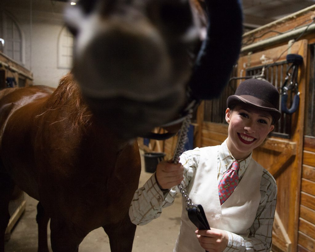 Rider Jillian Silva introduces her horse, Indy, to the camera after winning a park horse competition. (Credit: Ryan King/ WNPR)