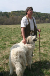Livestock farmer Bill Fosher with sheepdog Zues