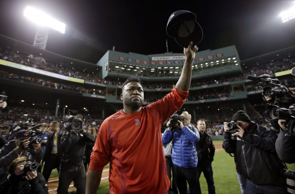 "Red Sox designated hitter David Ortiz, nicknamed ""Big Papi,"" bids goodbye to fans this month after losing to the Cleveland Indians at Fenway Park earlier this month. The game marked Ortiz's retirement. (Credit: Charles Krupa/AP)"