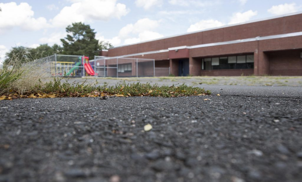 Hartford's Clark School, closed after PCBs were discovered in the building in December. 2014 The toxic materials were found in new ceiling tiles. (Credit: Ryan Caron King/WNPR)