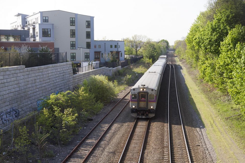 A commuter rail train is seen in the Boston area. Lawmakers in New Hampshire have been debating connecting Boston's commuter rail to Nashua and Manchester. Credit: Joe Difazio / WBUR