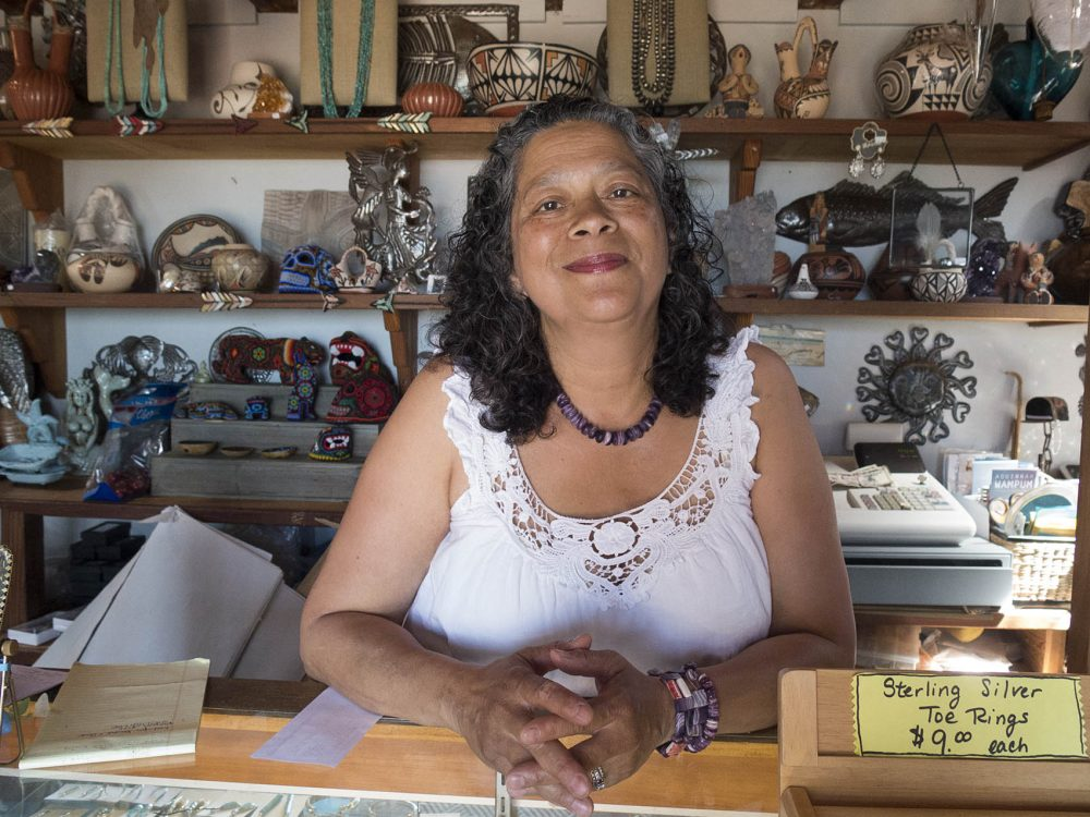 Aquinnah Wampanoag tribal member Berta Welch is owner of the Stony Creek Gift Shop in Aquinnah, on Martha's Vineyard. The shop originally opened 75 years ago. (Credit: Andrea Shea: WBUR)