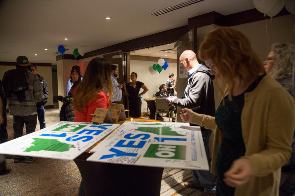 Marijuana legalization advocates at the Yes on One Election Night event in Portland.