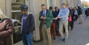 Voters in New Haven's Ward 7 wait outside to cast their ballot on Election Day. (Credit: New Haven Independent)