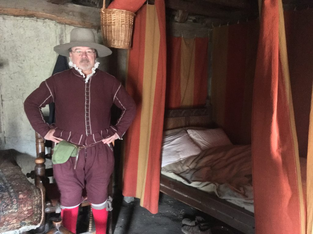 Buddy Tripp, a Myles Standish reenactor at Plimoth Plantation in Plymouth, Massachusetts. (Credit: Annie Sinsabaugh/ Transom Story Workshop)