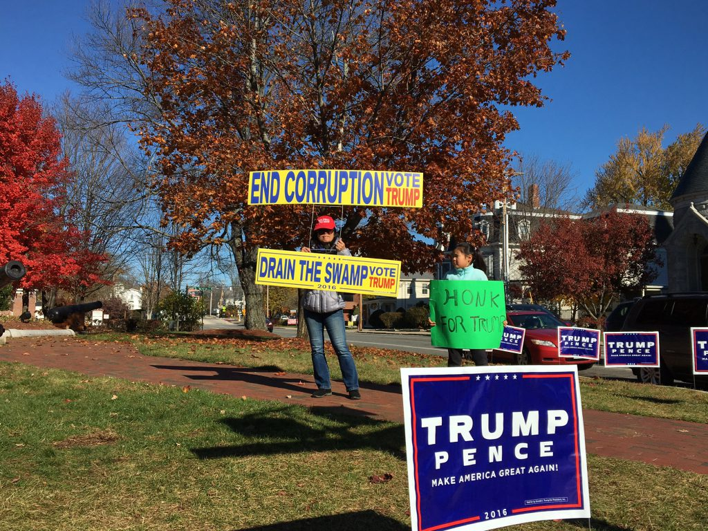 Jenny Cheung of Braintree, Mass. told reporter Shannon Dooling she's volunteering for #Trump today in NH 'cause it's a swing state.