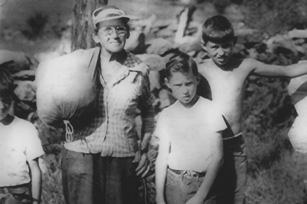 Emma Gatewood with Thomson brothers (from left) Tom, seven; David, nine; and Peter, 11; near the Thomson home in Orford, New Hampshire, on her through hike of the Appalachian Trail in 1955.