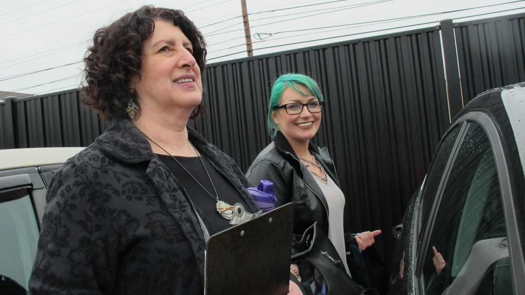 Angela Delyani, a mental health advocate, and Rachel Carpenter, an advocate with the YWCA. Photo by Emily Corwin for NHPR