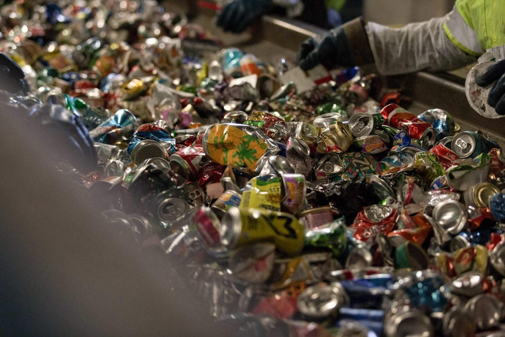Old aluminum, collected at the Materials Innovation and Recycling Authority in Hartford. Photo by Ryan Caron King for WNPR