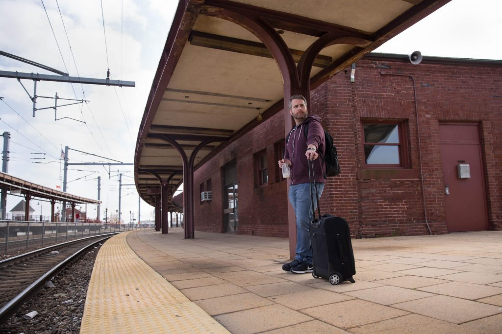Matt Roy stands on the platform at Union Station on May 1, 2017. He thinks investment in reliable train service for the city is important. Photo by Ryan Caron King for NENC