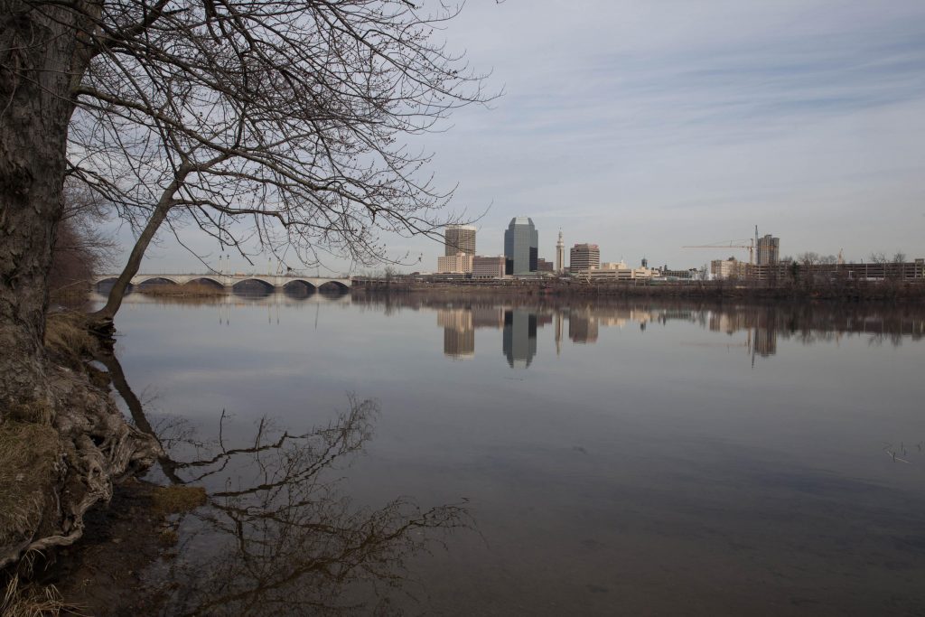 The Connecticut River at Springfield, Massachusetts, on April 3, 2017. Photo by Ryan Caron King for NENC