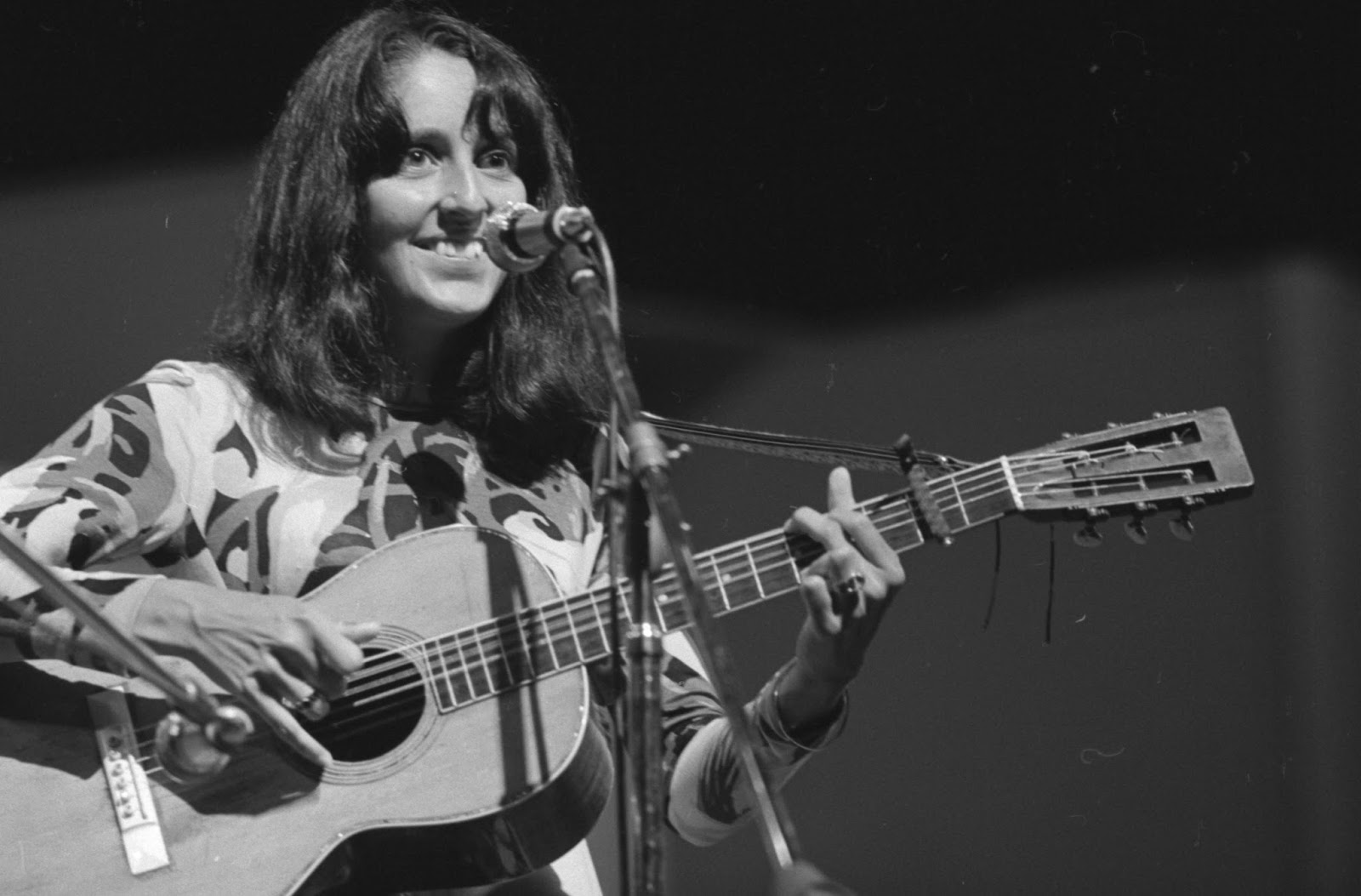 Joan Baez performs at the 1964 Newport Folk Festival.