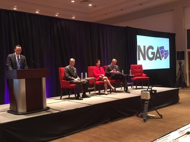 Governors Cooper, Raimondo, and Baker take part in a panel discussion at the National Governors Association meeting. Photo by Ian Donnis for RIPR
