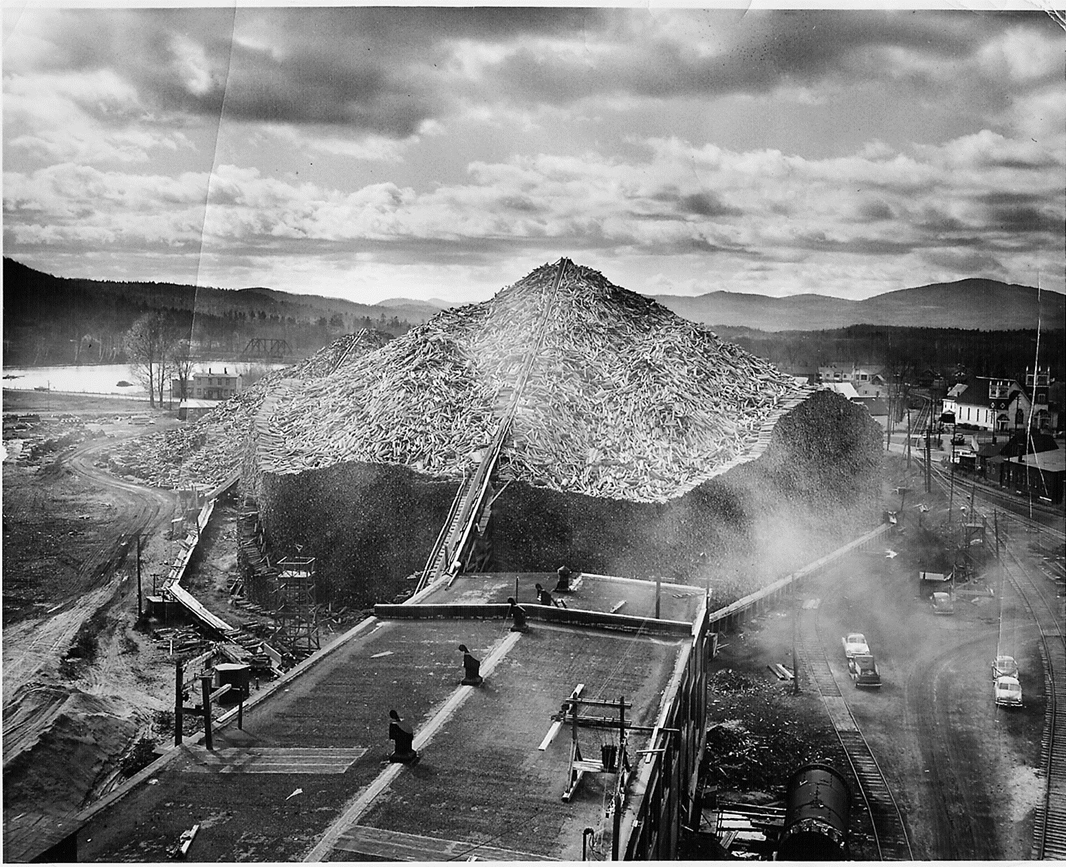 2-1- Pulp pile Viewed from top ofi wood room early 1950s copy