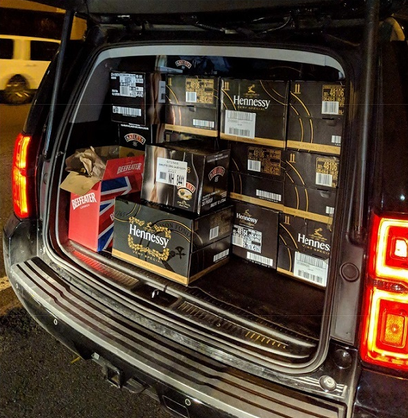 This photo by the New York State Department of Taxation and Finance shows 757 liters of liquor that were allegedly purchased across five different stores in New Hampshire.