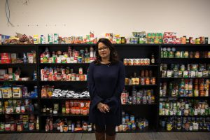 Aura Alvarado helped run the relief center in Hartford. She says there's still a need for services for hurricane evacuees. (Ryan Caron King / Connecticut Public Radio)