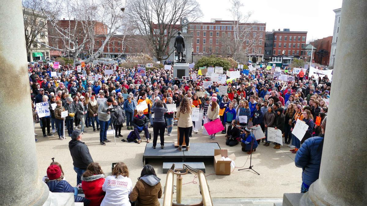 View of the March for Our Lives rally at the N.H. State House on March 24, 2018. Photo by Sean Hurley for NHPR