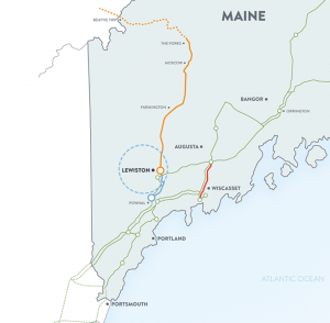 Map of the New England Clean Energy Connects line.
