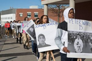 Students in Hartford join the national walkout over gun violence. (Ryan Caron King/Connecticut Public Radio).