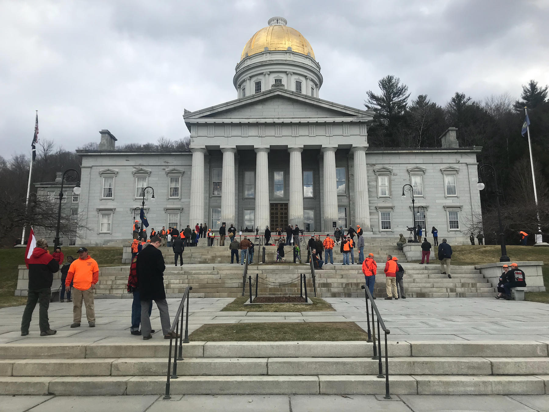 The front of the Vermont Statehouse, prior to the Gov. Phil Scott's guns-reform bill signing Wednesday. The governor made an open invitation on Twitter for people to join him for at the bill signing. Photo by Emily Alfin Johnson for VPR.