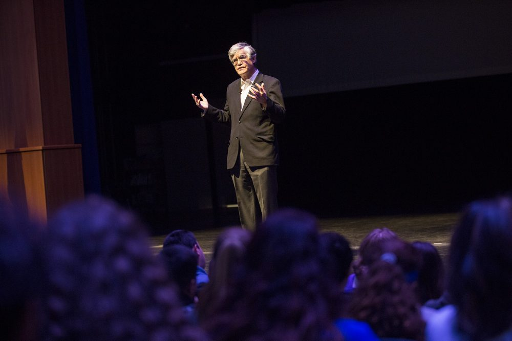 John Broderick, a former chief justice of the New Hampshire Supreme Court, speaks to high school students in Salem, N.H., about mental health awareness. Photo by Jesse Costa for WBUR
