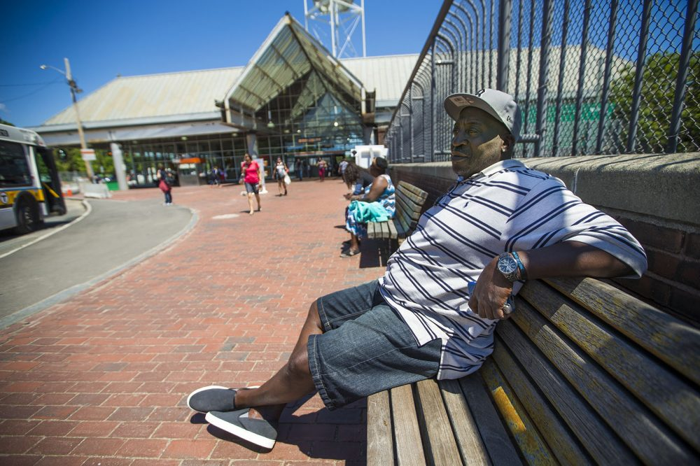 Clarence, 53, seen here by the Forest Hills MBTA station, says he's been addicted to heroin for 30 years. Photo by Jesse Costa for WBUR