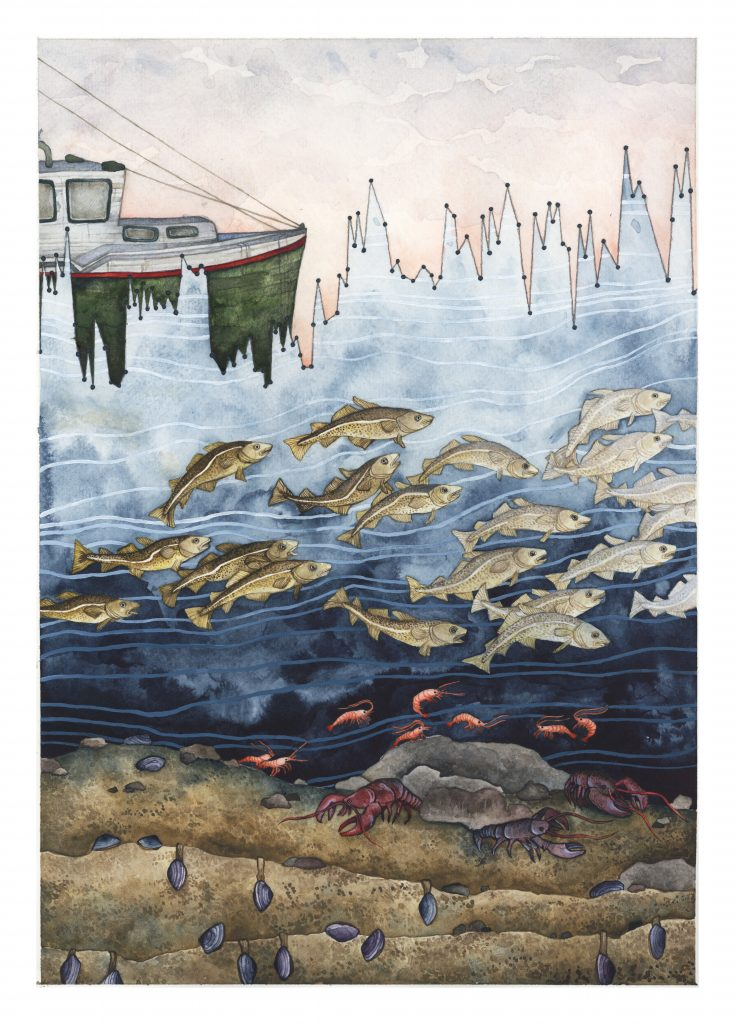 "Gulf of Maine Temperature Variability"" by artist Jill Pelto. Courtesy of Jill Pelto"