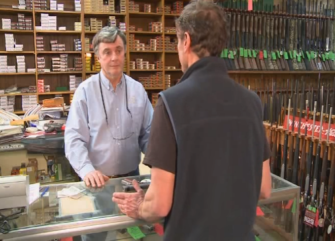 "Ralph Demicco, former owner of Riley's Gun Shop in Hooksett, has teamed up with public health experts to broaden suicide prevention efforts. Here, he's featured in a 2011 video about the launch of the ""Gun Shop Project."" Photo courtesy of Nami New Hampshire"
