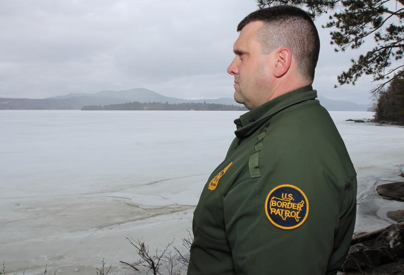 U.S. Border Patrol agent Richard Ross near the international border along Lake Memphremagog. Photo by Lorne Matalon for VPR