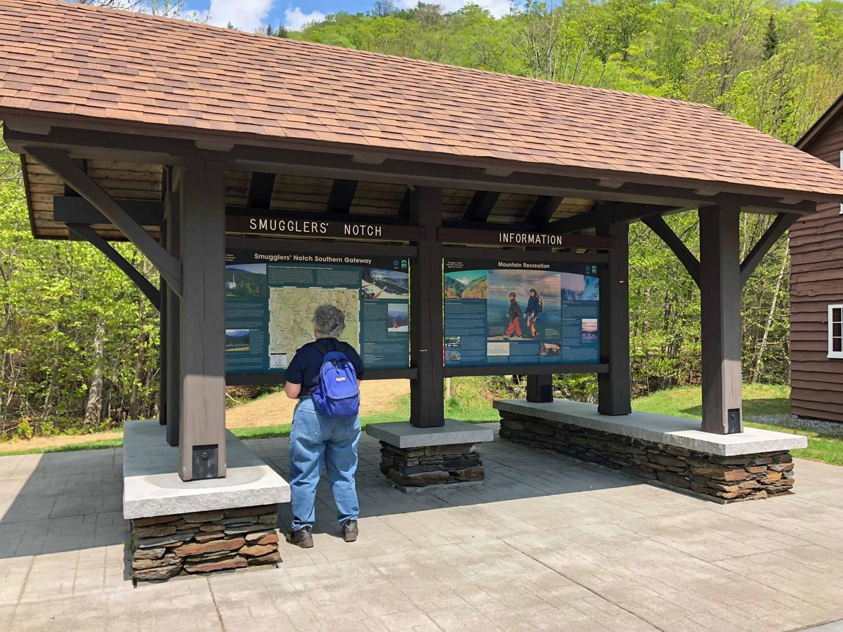 While the visitor's center is only open on the weekends, a nearby kiosk provides information 24/7. Photo by Amy Kolb Noyes for VPR