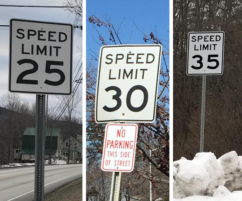 From left to right, speed limit signs in Bridgewater, South Burlington and Plymouth, Vermont. Photo by Emily Corwin and Meg Malone for VPR