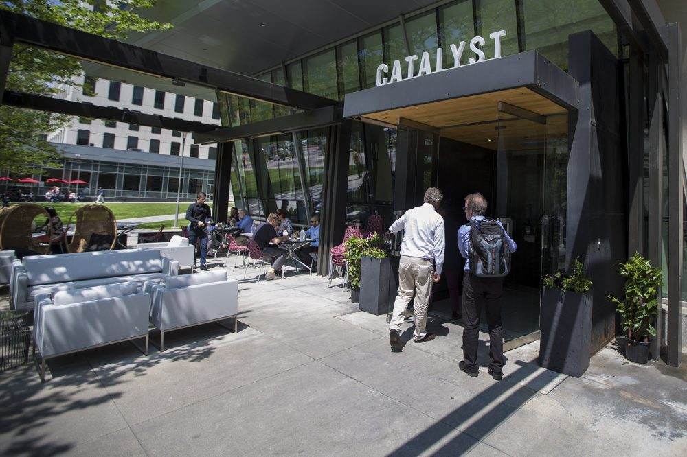 "The ""tribes"" of biotech often do lunch at Catalyst restaurant in Kendall Square. Photo by Jesse Costa for WBUR"