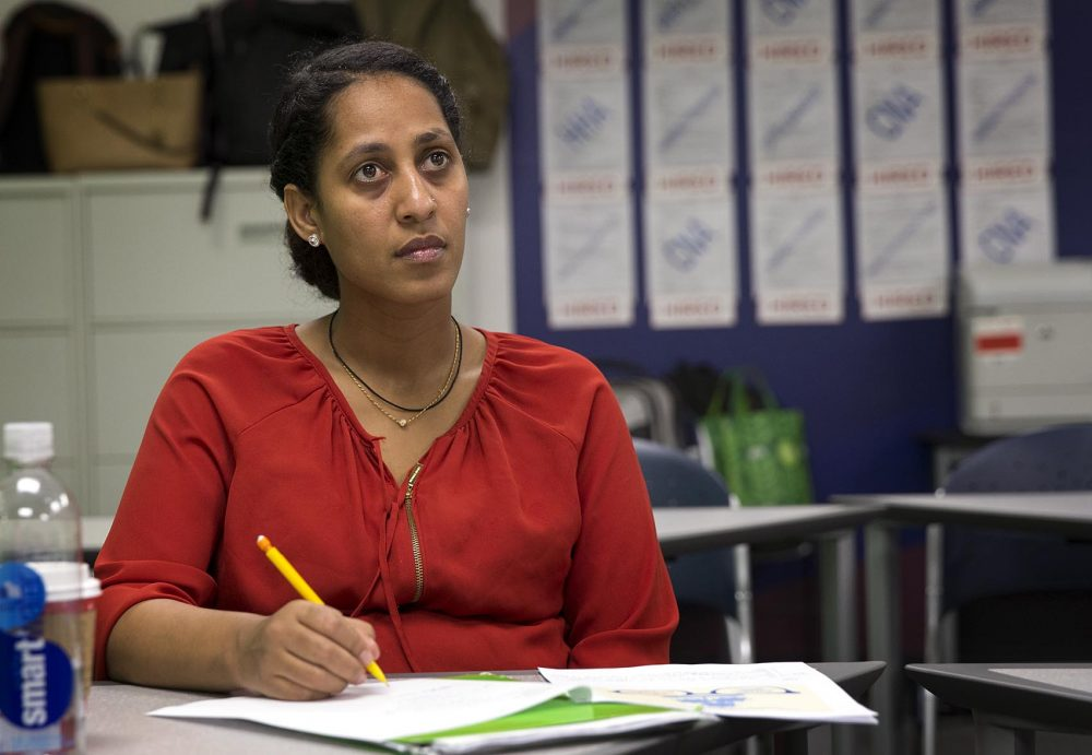 """Ayehu Lakew was one of the students in the class """"Working with Frail Elders"""" at Jewish Vocational Services in Boston. She came to Boston on a diversity visa and hopes to become a nurse."""