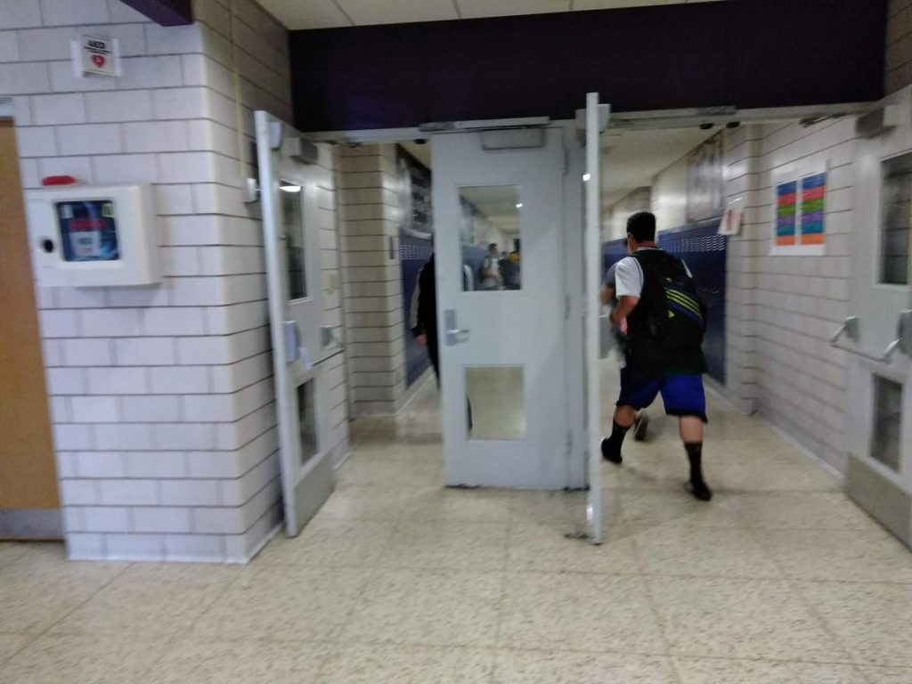 The bell rings and students hustle to get to class at Holyoke High School. Photo by Jill Kaufman for NEPR