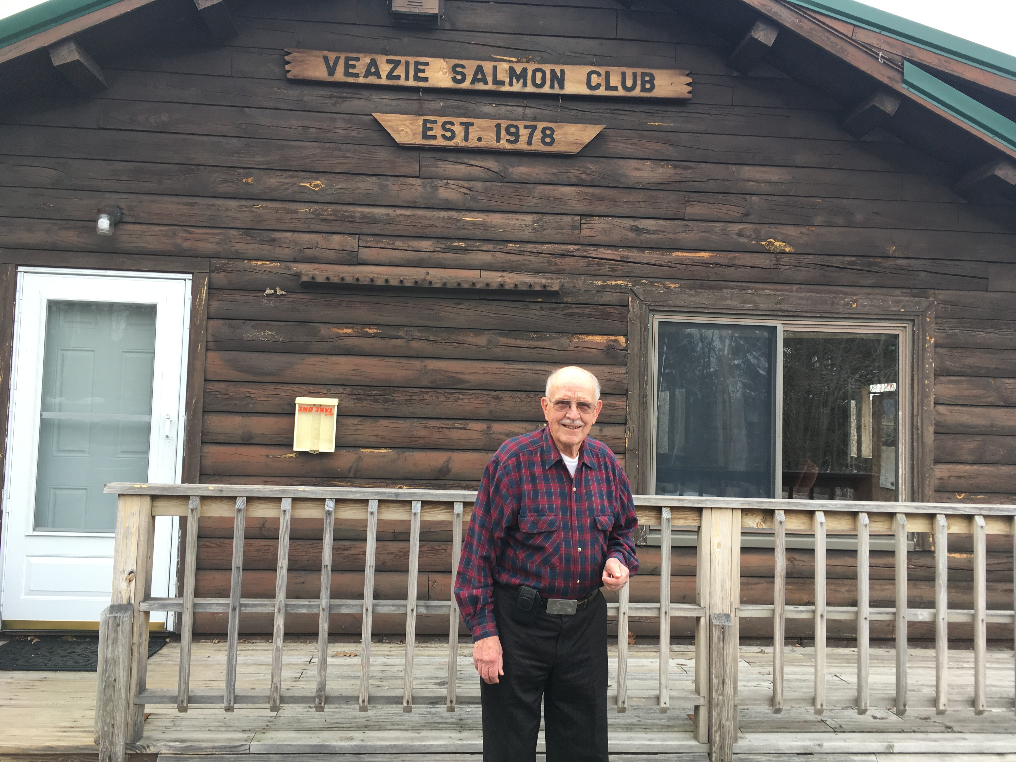 Claude Z. Westfall outside of the old Viezie Salmon Club. Photo by Caroline Lester for the New England News Collaborative