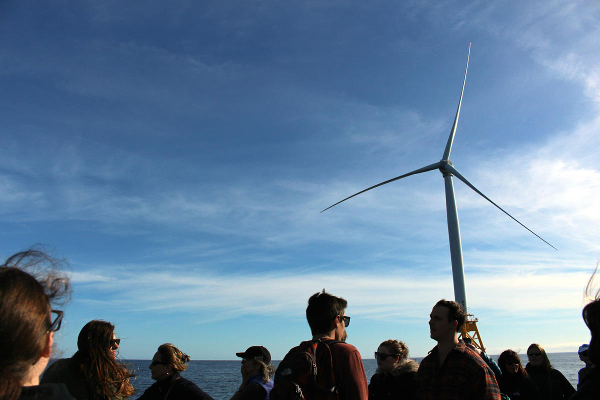Representatives from Sea Grant programs across the country gathered in Rhode Island to mark the Sea Grant's 50th anniversary. They toured the Block Island Wind Farm. Local high school students were also on board. Photo by Ambar Espinoza for RIPR