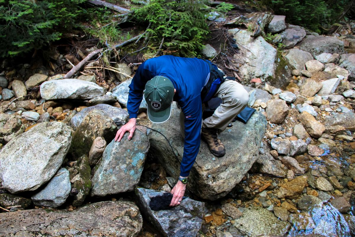 Wilkes records with two mics - he sets one here on a rock, and one higher up the brook. Photo by Sean Hurley for NHPR