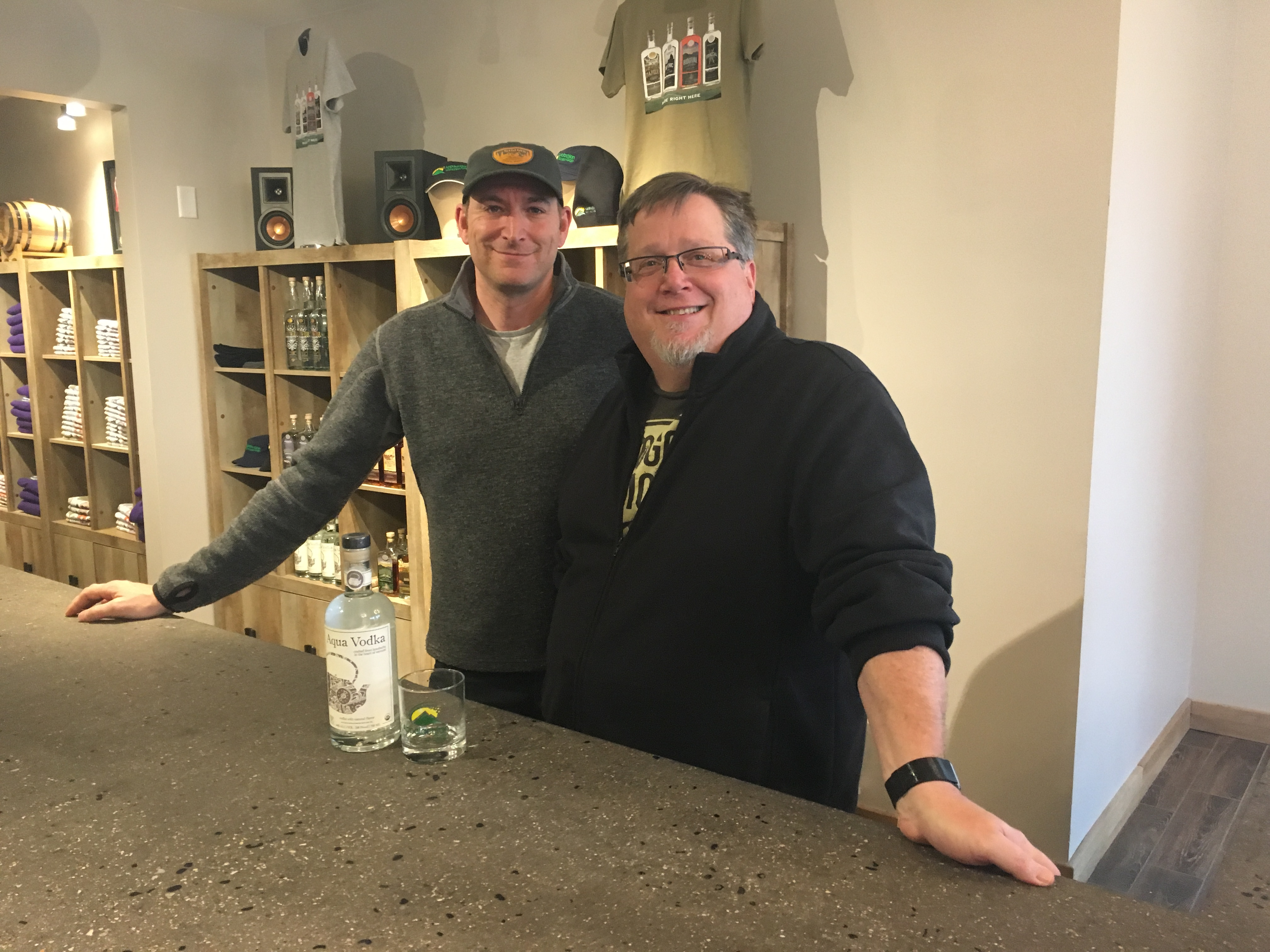 Jeff Weaber (L), founder/CEO of Aqua ViTea, and Lars Hubbard (R), co-owner of Appalachian Gap Distillery have partnered up to make Aqua Vodka: a vodka made with alcohol extracted from kombucha. Photo by Eric Shimelonis