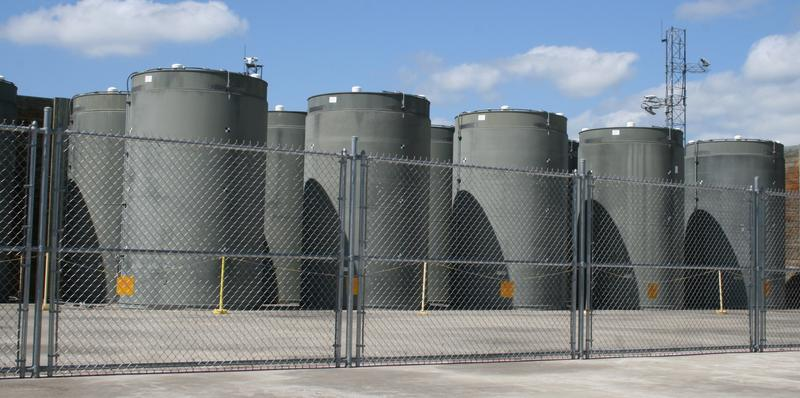 Spent fuel at Vermont Yankee is stored in these casks. NorthStar, the company that wants to buy the closed plant, recently boosted its financial plan to pay for fuel storage. Photo courtesy of Vermont Yankee