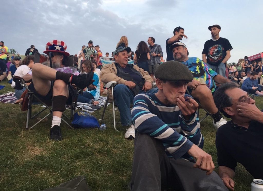 Revelers at Dead & Company show in Hartford, Conn., in June 2018. Photo by Karen Brown for NEPR
