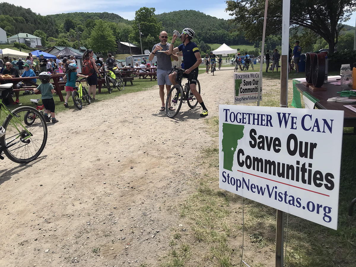 More than 200 riders turned out in early June for a fundraiser bike ride through Tunbridge and Strafford put on by the Alliance for Vermont Communities to stop NewVistas. Photo by Angela Evancie for VPR