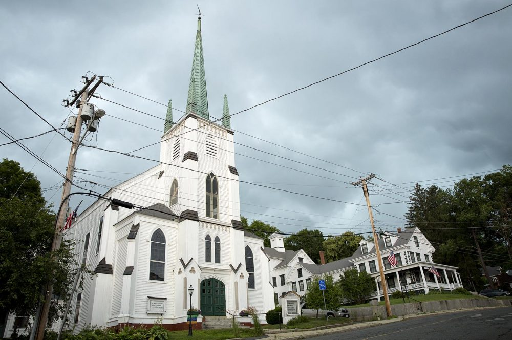 "The First Universalist Church in Orange is one of the locations that appears in ""Castle Rock."" Photo by Robin Lubbock for WBUR"