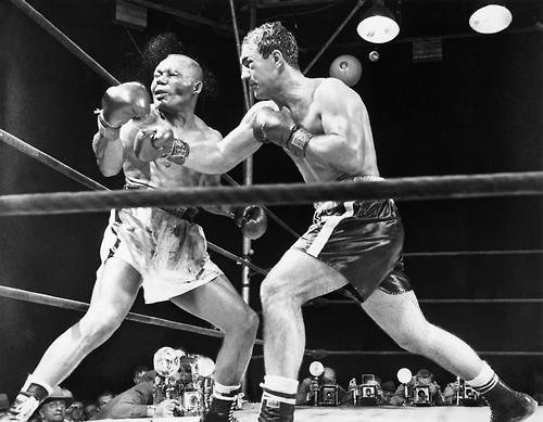 Rocky Marciano fights Jersey Joe Walcott in 1952. Photo courtesey of RV1864, Flickr, Creative Commons