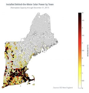 Installed Behind-the-Meter Solar Power by Town. Source: ISO New England