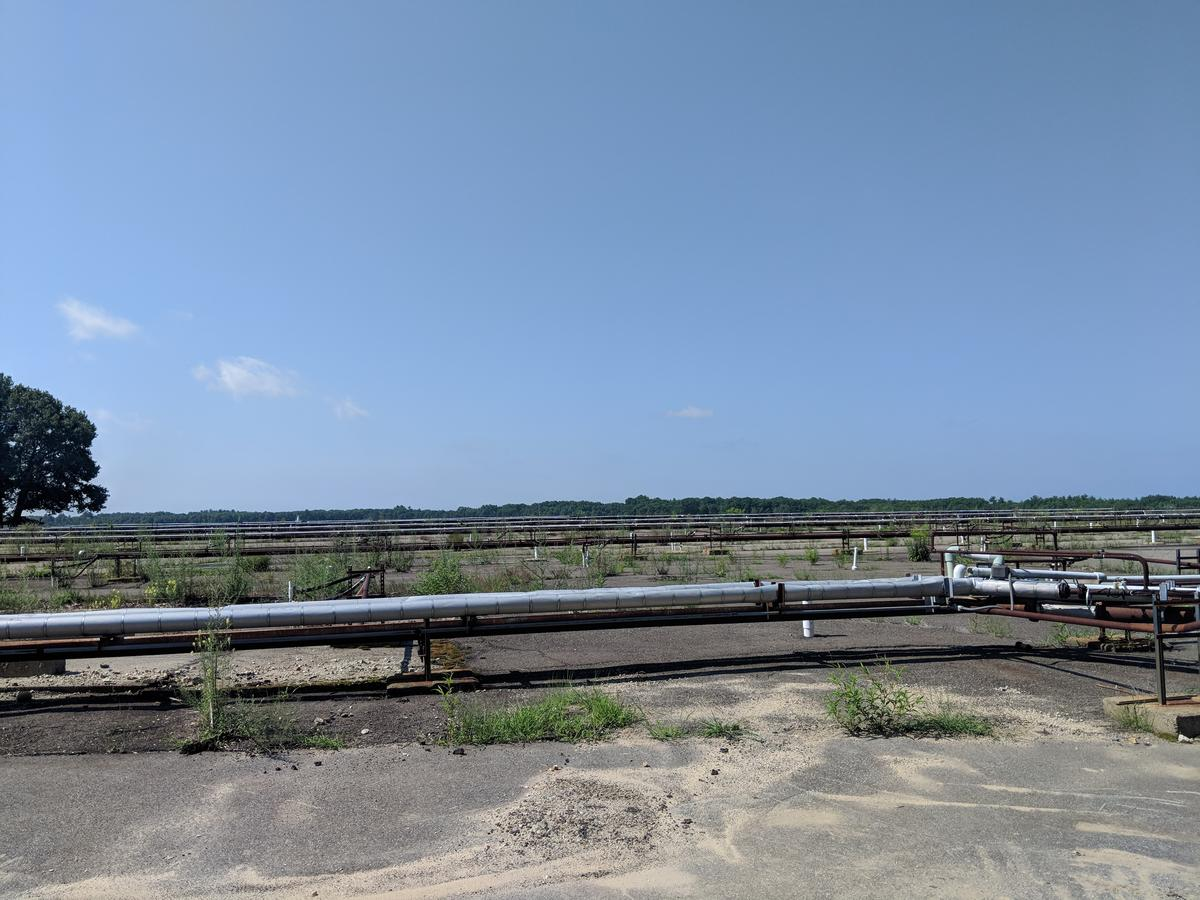 A grid of pipes connects 10 wells that are filtering PFAS out of one aquifer below Pease International Tradeport. Photo by Annie Ropeik for NHPR