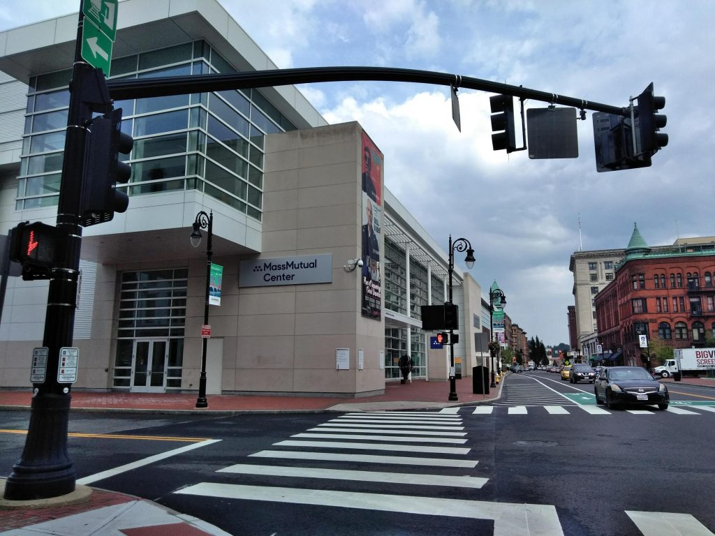 On Main Street in Springfield, Massachusetts, MGM's resort casino is just south of the MassMutual Center where Steve Wonder performs September 1. Photo by Jill Kaufman for NEPR