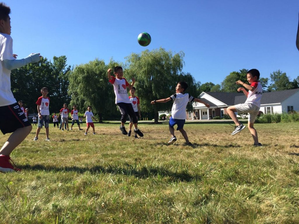 Students at Busche Academy enjoy recess on their campus in Chester, N.H. Photo by Todd Bookman for NHPR